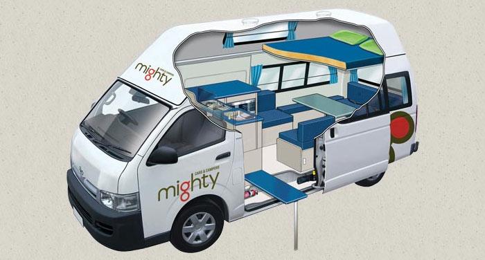 Mighty Double Down camper huren in Nieuw-Zeeland