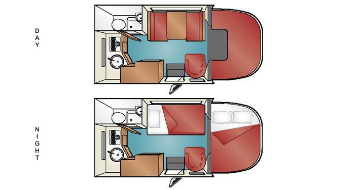 Cruise America C-19 Compact motorhome inside